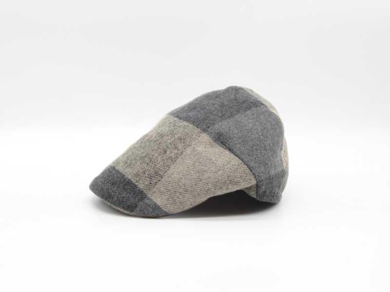 Cappello in lana classica quadrettata color fantasia fango taglia 55 uomo