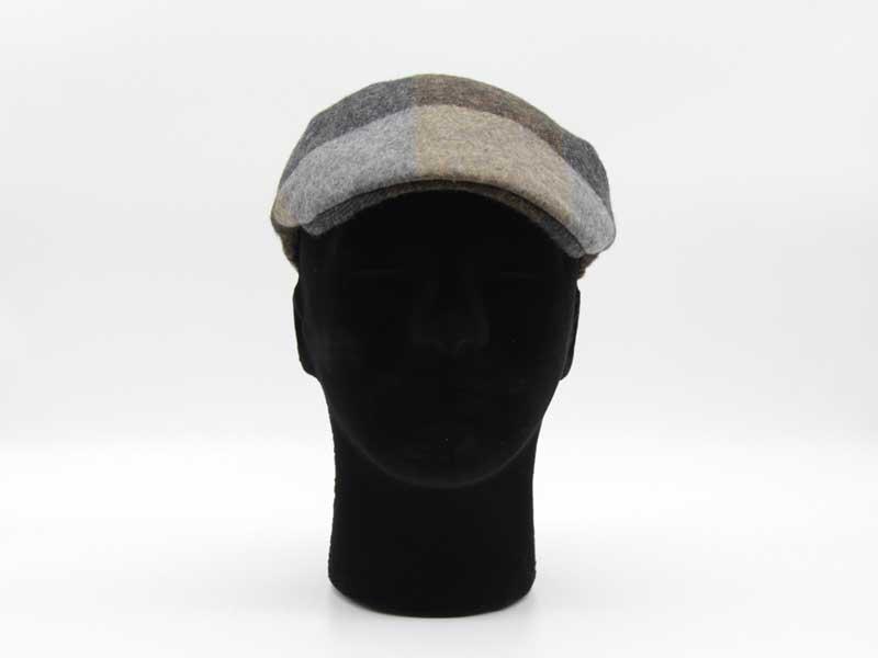 Cappello in lana classica quadrettata color fantasia grigio taglia 59 uomo