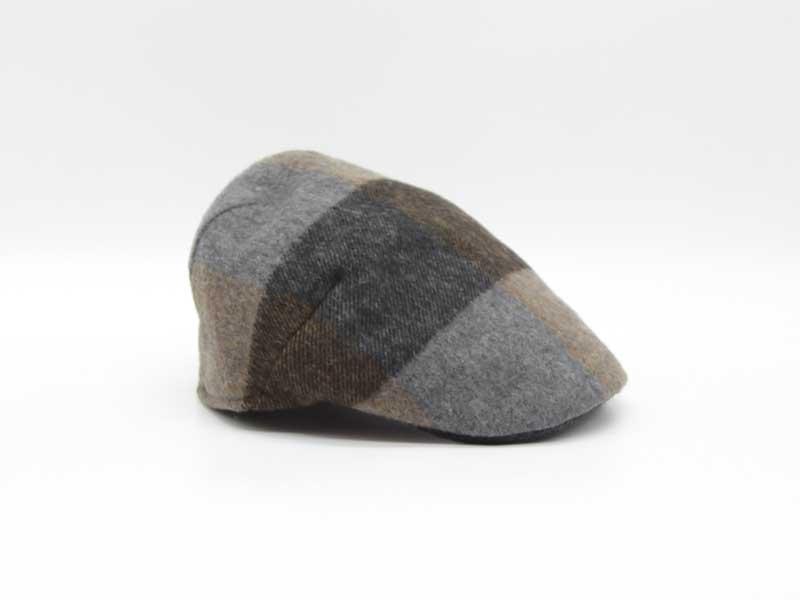 Cappello in lana classica quadrettata color fantasia grigio taglia 55 uomo