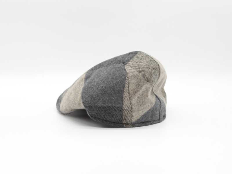 Cappello in lana classica quadrettata color fantasia fango taglia 57 uomo