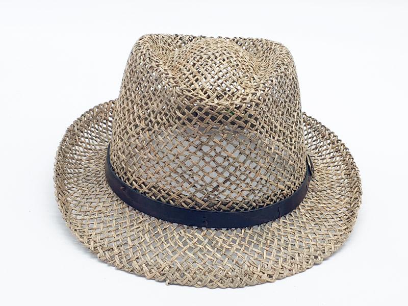 Cappello paglia stile borsalino - cinturino cuoio