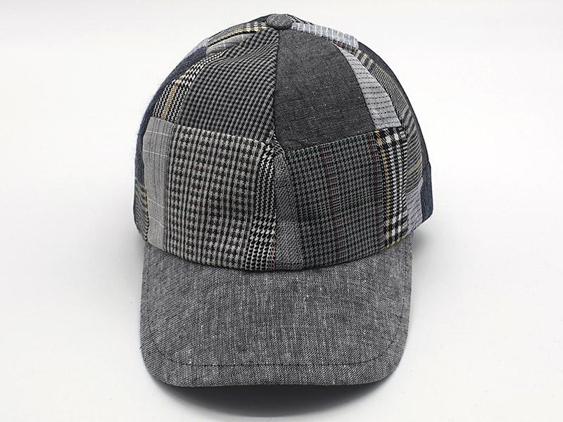 Cappello stile Baseball - 100% lino - patchwork scozzese base grigio