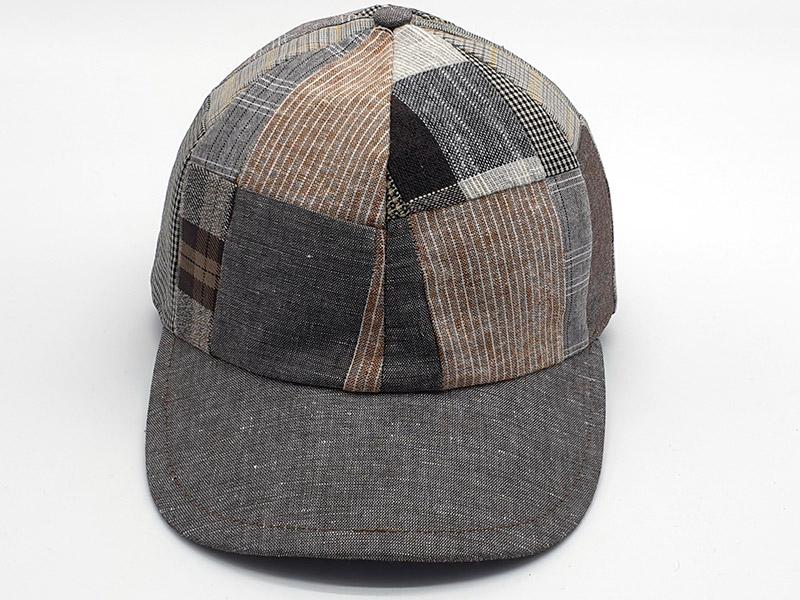 Cappello stile Baseball 100% in lino patchwork base marrone