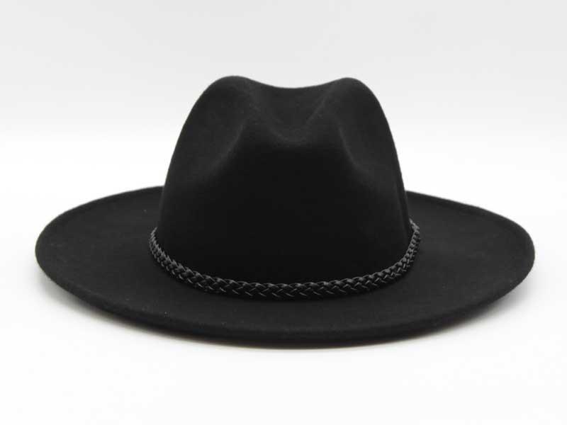 Cappello in feltro stile Western nero taglia 55 unisex
