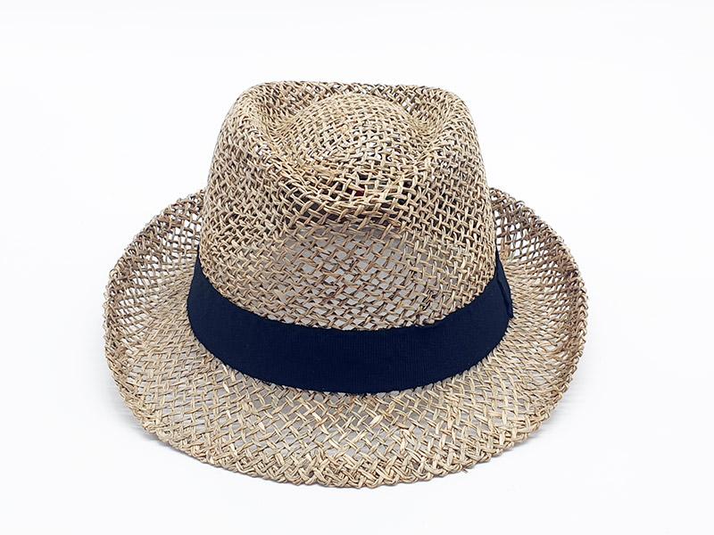 Cappello paglia stile borsalino - gros grain nero