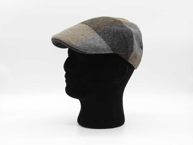 Cappello in lana classica quadrettata color fantasia fango taglia 58 uomo