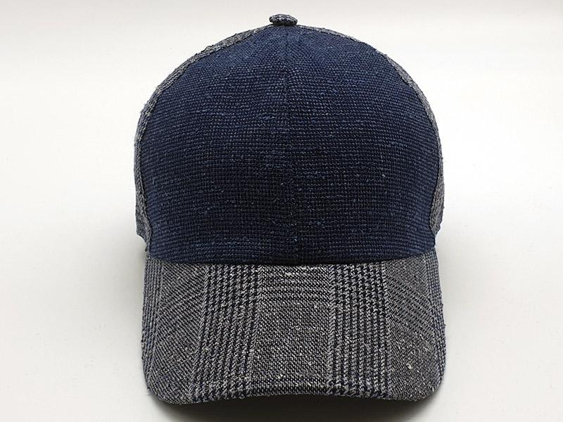 Cappello stile Baseball - 100% lino - spicchi alternati blu/grigio
