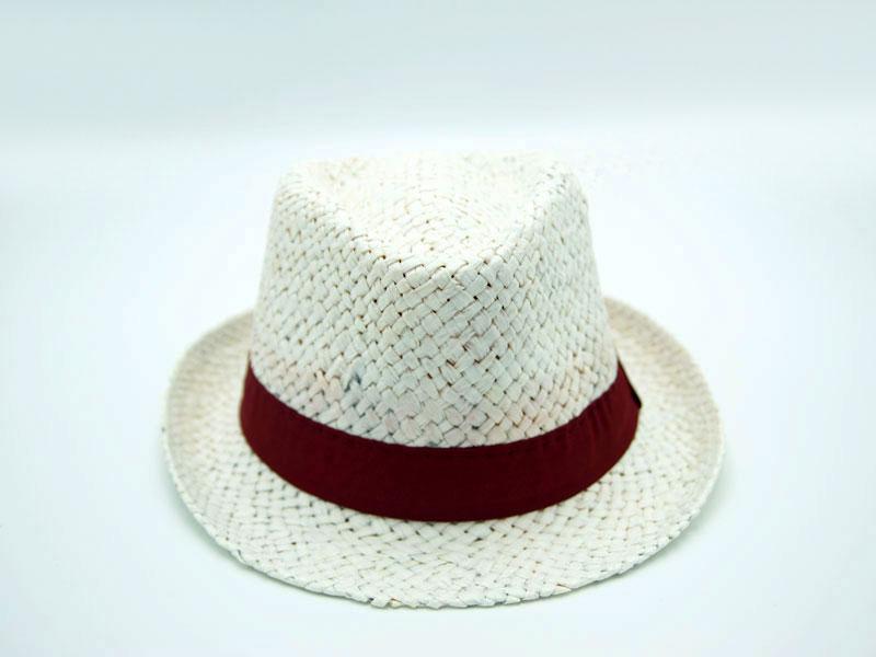 Cappello paglia Unisex Stile Bonsal con grosgrain colorato, lavabile