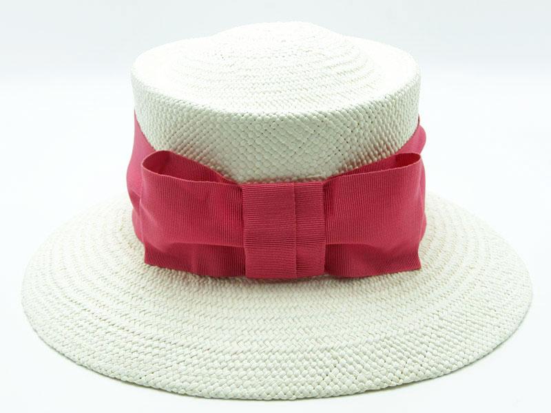 Cappello Panama bianco da donna stile inglese con nastro colorato