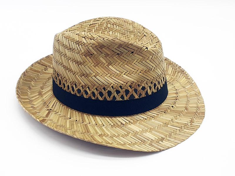 Cappello Paglia ad ala larga traspirante con con grosgrain nero