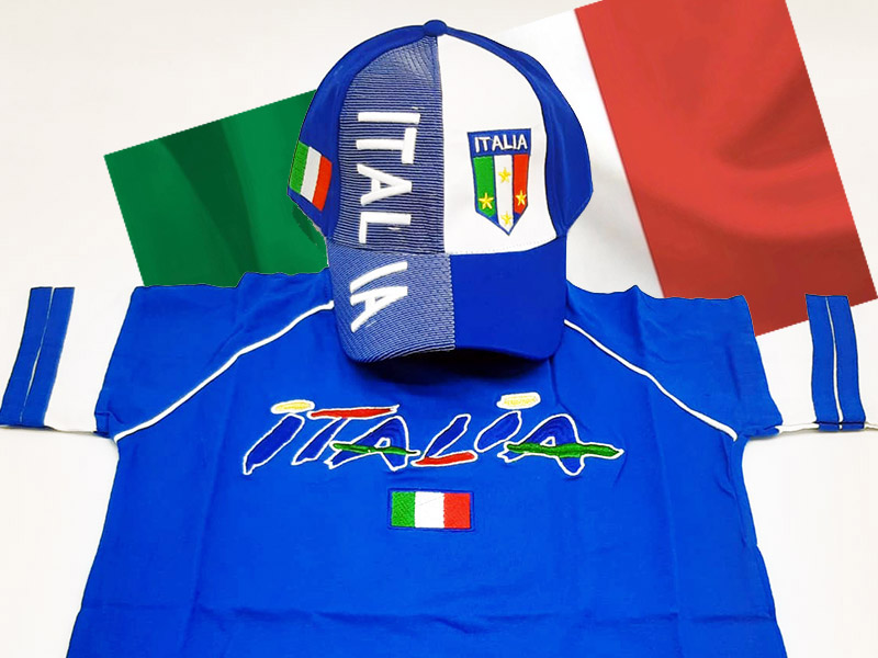 Speciale Italia Euro 2020 - Kit T-Shirt+Cappellino Bianco+ Bandiera