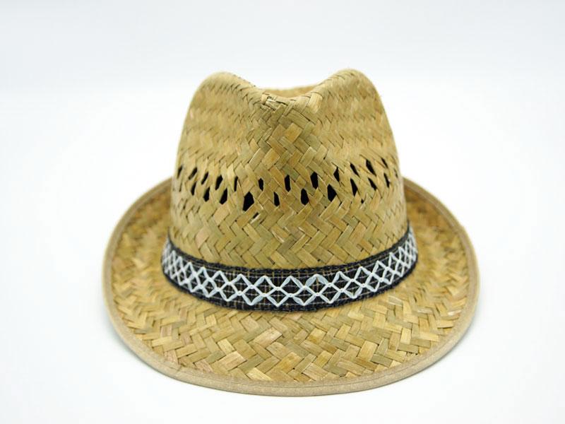 Cappello in paglia stile alpino ad ala medio corta con nastro fantasia