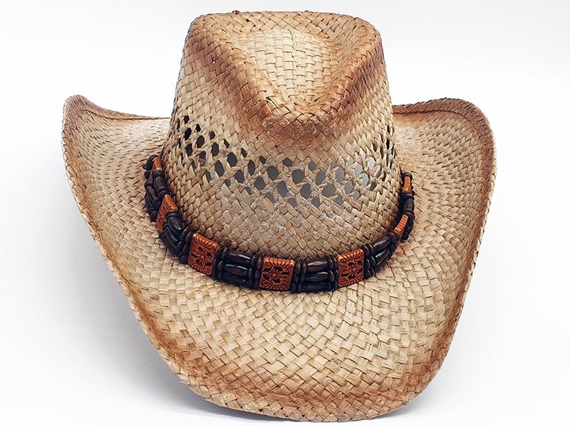 Cappello 100% paglia stile Country Cowboy unisex con corda anticaduta