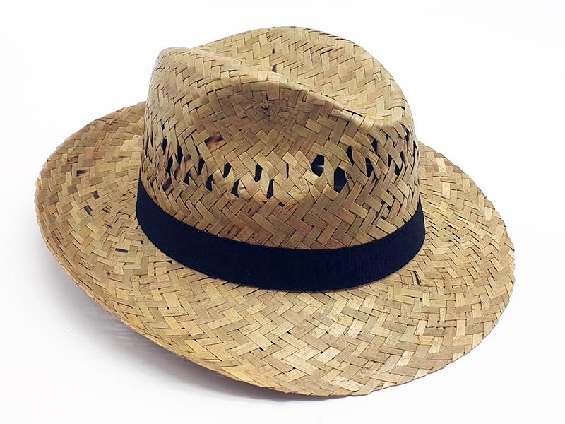 Cappello Paglia economica ala larga traspirante con con grosgrain nero