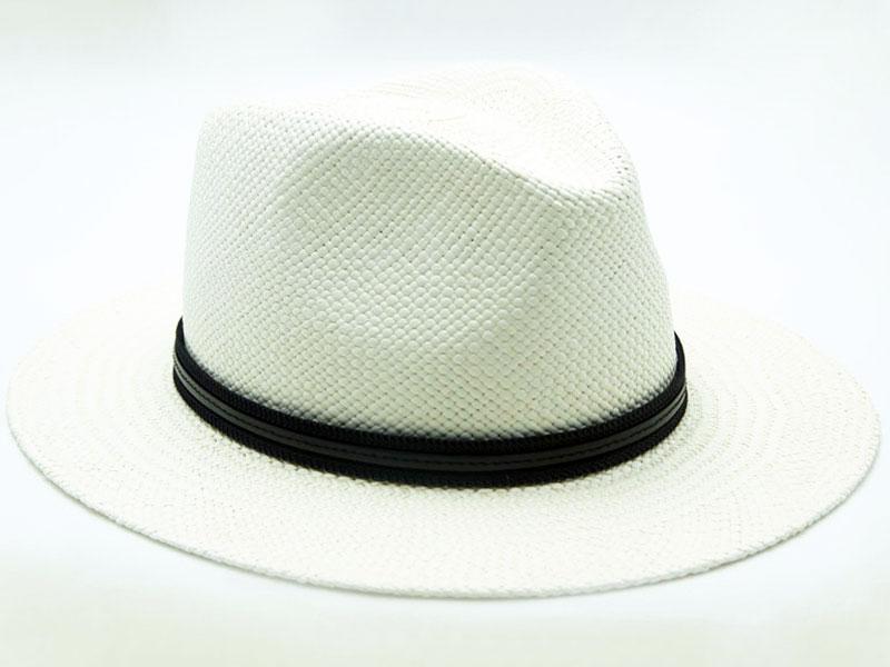 Cappello Panama bianco unisex con cinturino nero