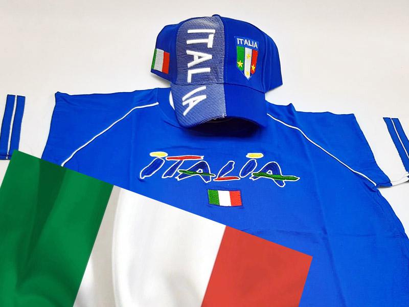 Speciale Italia Euro 2020 - Kit T-Shirt+Cappellino Blu+ Bandiera