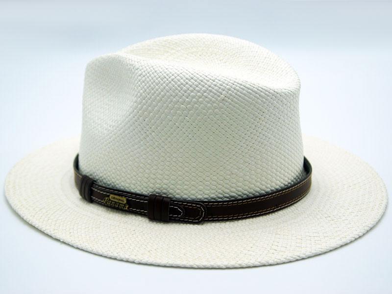 Cappello Panama bianco unisex con cinturino nero o marrone