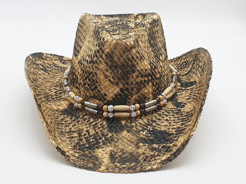 Cappello in paglia stile Country Cowboy unisex con corda anticaduta