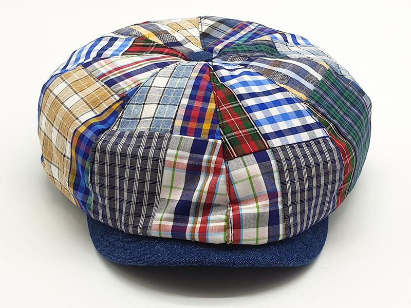 Coppola a spicchi stile peaky blinders patchwork scozzese base blu
