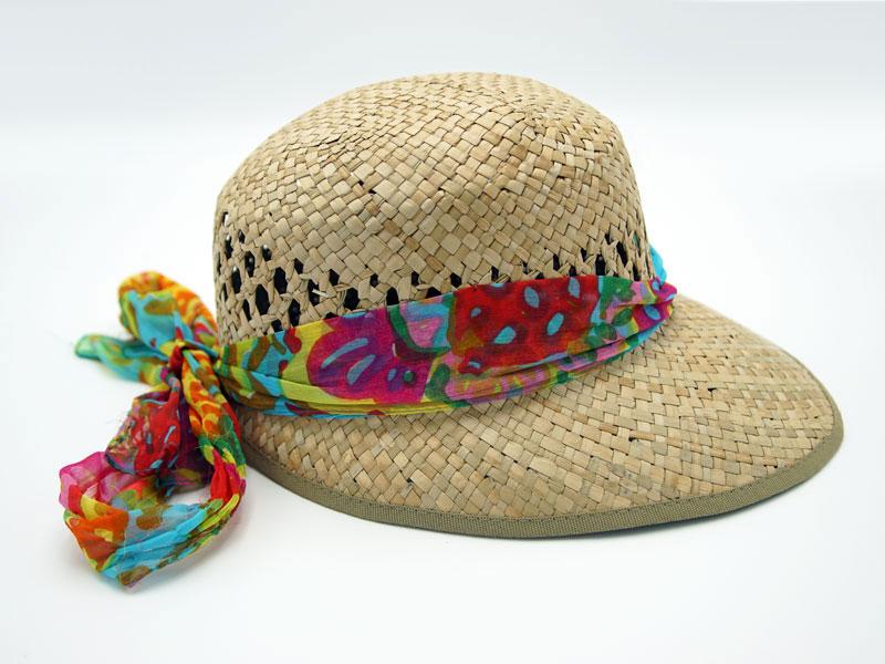 Cappello in Paglia da Donna Ala Corta con visiera e foulard colorato