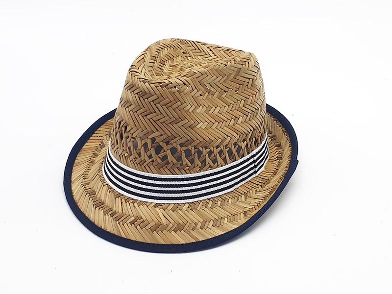 Cappello da bambino paglia naturale con gros grain fantasia