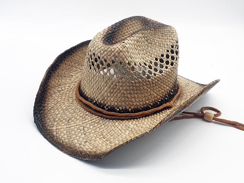 Cappello in paglia stile Country Cowboy unisex con ala modellabile