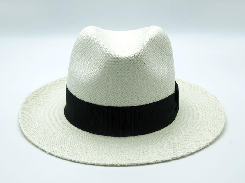 Cappello Panama bianco unisex con nastro nero in lino