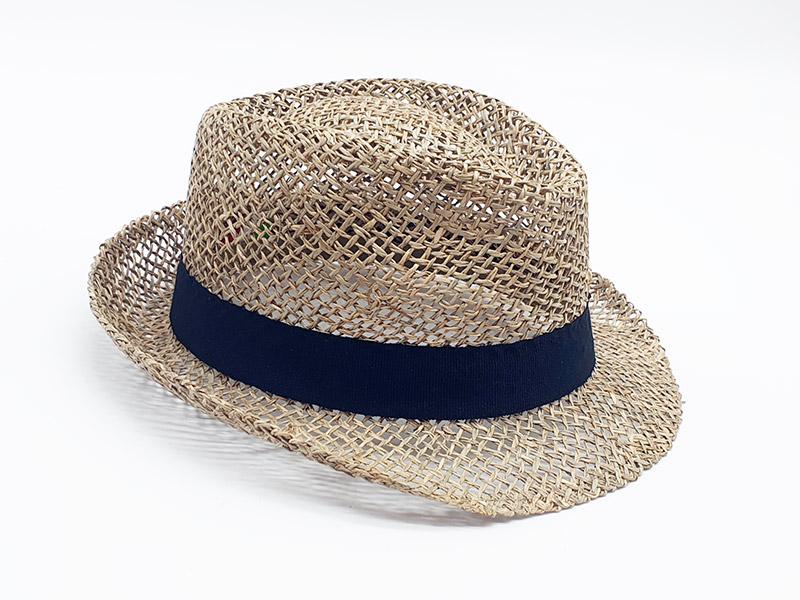 Cappello paglia stile borsalino ala stretta con gros grain nero